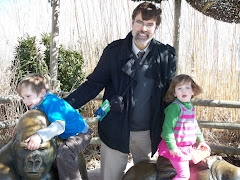 Rob and Phoenix and Gracie at the Gorilla exhibit