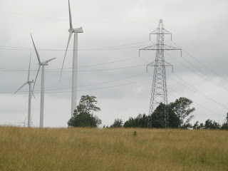 Wind turbines and electricity transmission towers