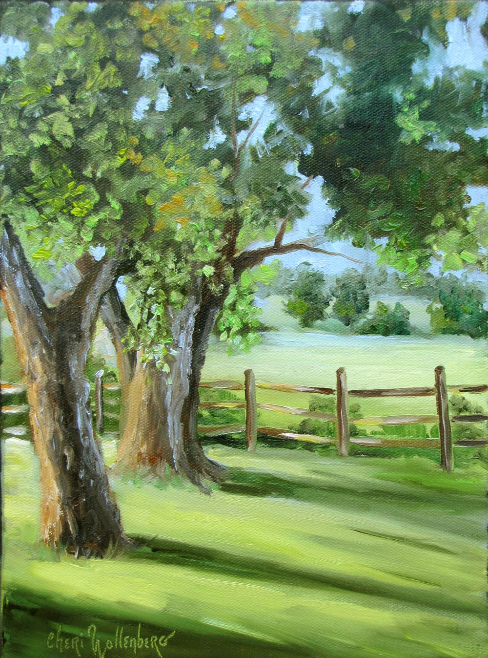 Dancing Brush Art By Cheri Wollenberg Trees In Early Morning Light