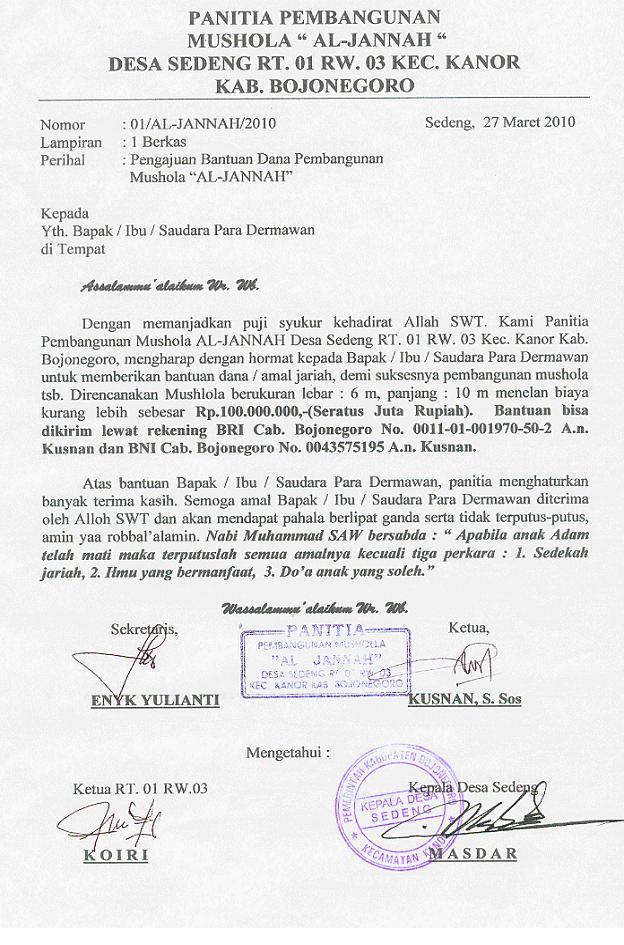 Mushola Al Jannah Proposal Bantuan Dana