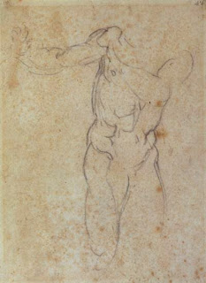 Michelangelo, 1510, Study for Adam