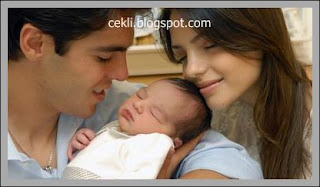 Kaka, his babay Luca, and his pretty wife Carolina