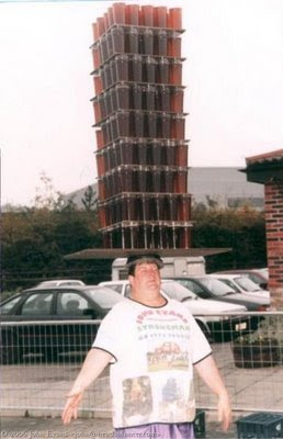funny beer balancing on head photo