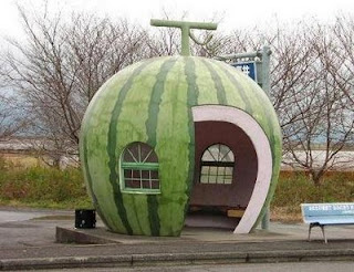 funny pic of watermelon bus stop