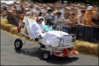 funny hospital bed photo in a car race weird