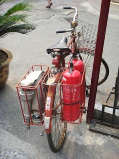 firefighting equipment funny bike with hose