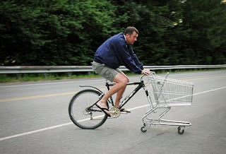 very funny new bike with shopping cart attachment