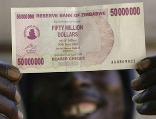 funny photo of zimbabwe currency fifty million dollars almost worthless