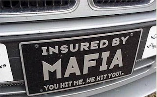 funny car photos licence plate insured by mafia you hit me we hit you