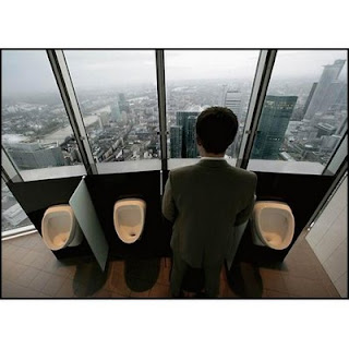funny fridays photo of toilet in high rise building urinal wiht great view big windows