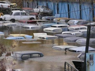 funny floating cars for sale at car yard underwater from flood photo