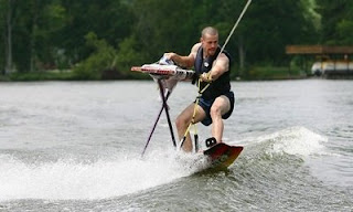 funny waterskiing photo man ironing on water odd but fun