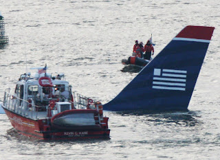 tail wing of sinking us airways plane crash hudson river new york january 2009