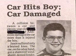 really funny news story about boy getting hit by car but unhurt car trashed great far side picture of boy