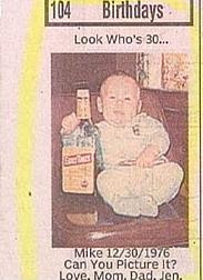 funny photo of looks whos thirty now baby photo with big bottle of liquor