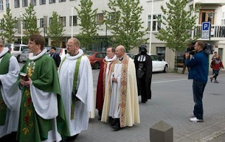 funny darth vader photo walking with bishops and priests church service
