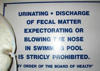 funny pool signs photo no peeing discharge of fecal matter blowing nose expectorating