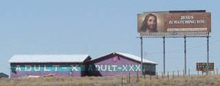 funny jesus is watching you sign next to adult shop