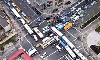 funy really big traffic jam buses stuck with nowhere to go