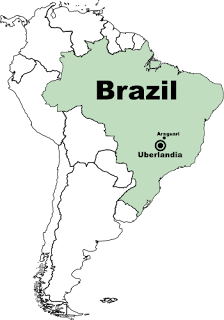[Map: Brazil, showing Uberlandia and Araguari]