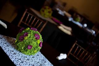 visual impact- kissing ball floral arrangement