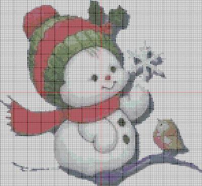 Punto de cruz muñecos de nieve con pajarito
