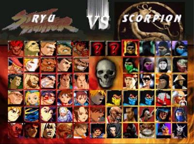 personagens Mortal Kombat vs Street Fighter