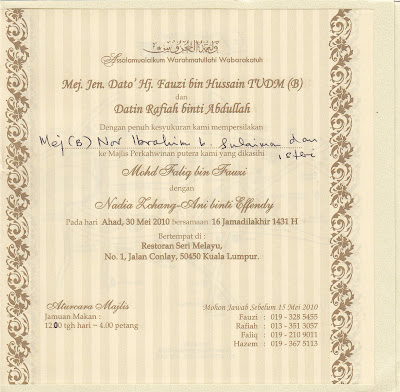 Kad jemputan perkahwinan Mohd Faliq, anak Mej Jen Dato' Fauzi Bin ...