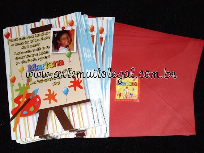 Convites personalizados e lembrancinhas de aniversário - Arte muito legal
