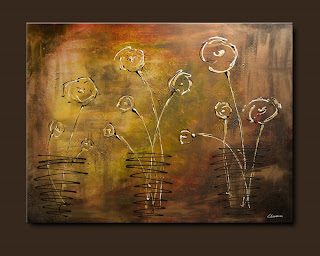 Flowers Painting-Happy Poppies-Abstract Art Paintings by Carmen Guedez - Image