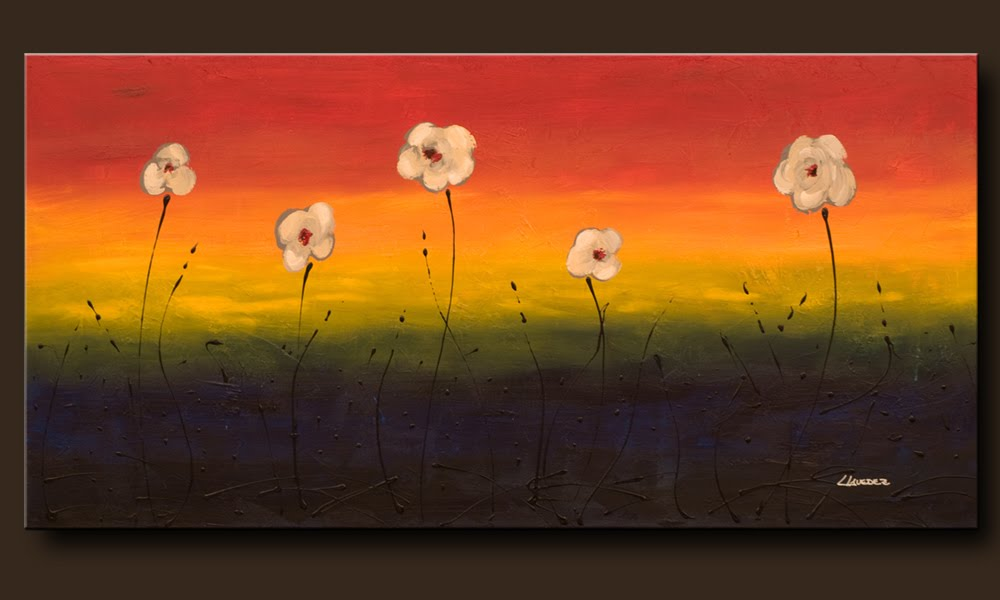"Flowers Painting ""Happy Poppies""- Abstract Art by Carmen Guedez"