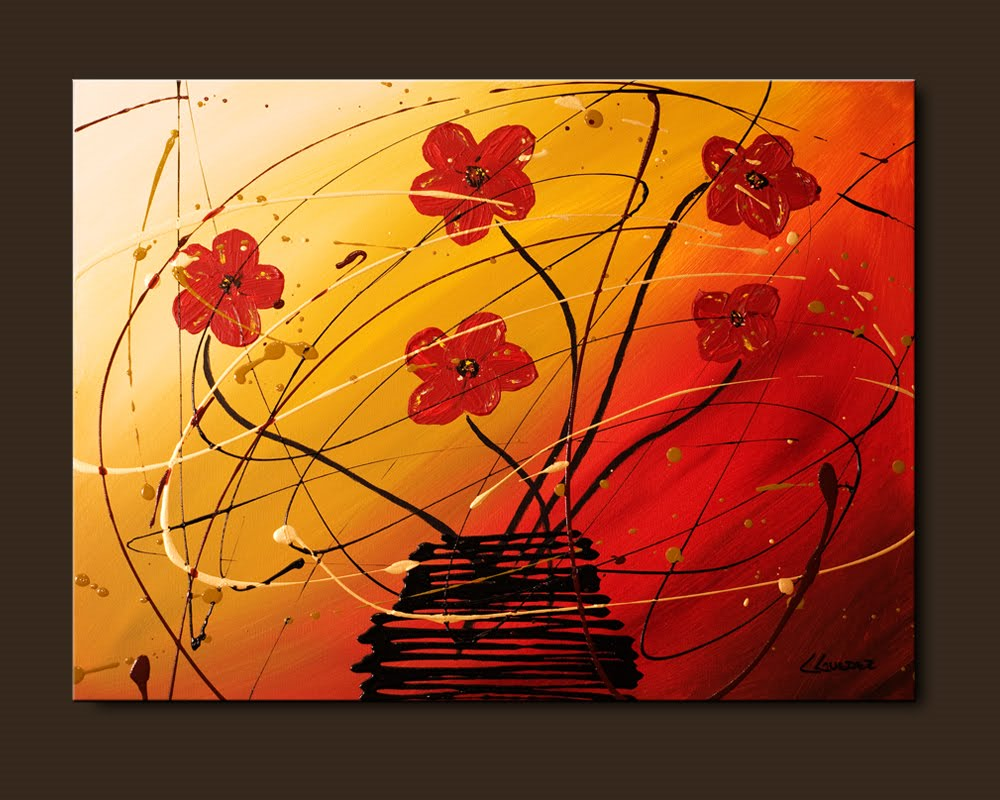 Abstract art paintings by carmen guedez flowers paintings for Abstract mural designs