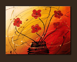Flowers Painting-Dripping Flowers-Abstract Art Paintings by Carmen Guedez - Image