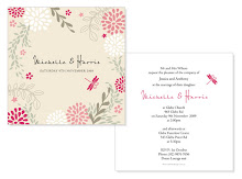 Dragonfly Pink Wedding Invite