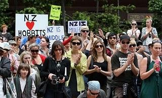 Митинг в поддержку съемок фильма Хоббит в новой Зелаендии