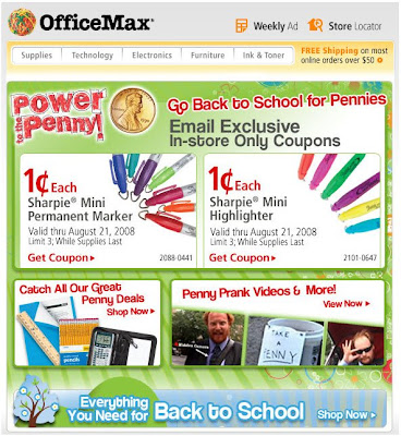 Click to view this Aug. 14 OfficeMax email larger