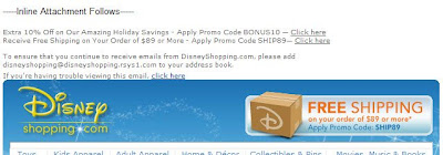 Click to view this Dec. 18, 2008 DisneyShopping email full-sized