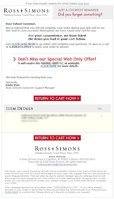 Click to view this shopping cart abandonment email from Ross-Simons full-sized