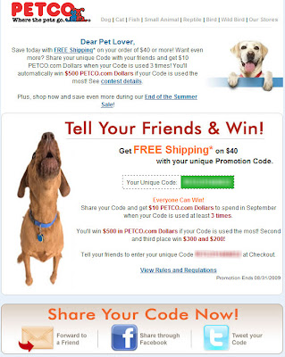 Click to view this Aug. 21, 2009 Petco email full-sized