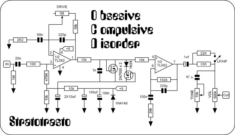 Tube Screamer Analysis together with Boss Ds 1 Classic Distortion Effects Pedal Modded as well Distortion 20Boost 20and 20Overdrive together with The Fender Princeton  lifer besides Distortion Pedal Schematics. on tube guitar pedal schematic