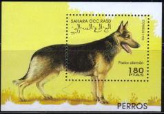 1995年サハラ・アラブ民主共和国(西サハラ) ジャーマン・シェパードの切手シート