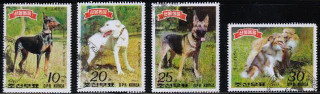 1989年朝鮮民主主義人民共和国(北朝鮮) ドーベルマン 犬種不明 ジャーマン・シェパード ラフ・コリーなど4犬種の切手