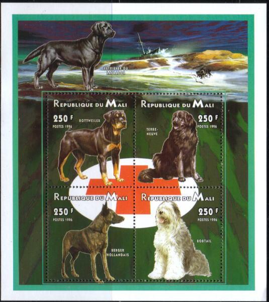 1996年マリ共和国 ロットワイラー ニューファンドランド マリノア(ダッチ・シェパード) オールド・イングリッシュ・シープドッグの切手シート