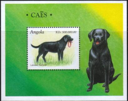 1998年アンゴラ共和国 ラブラドール・レトリーバーの切手シート