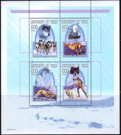 2000年チャド共和国 シベリアン・ハスキー グレーハウンドの切手シート