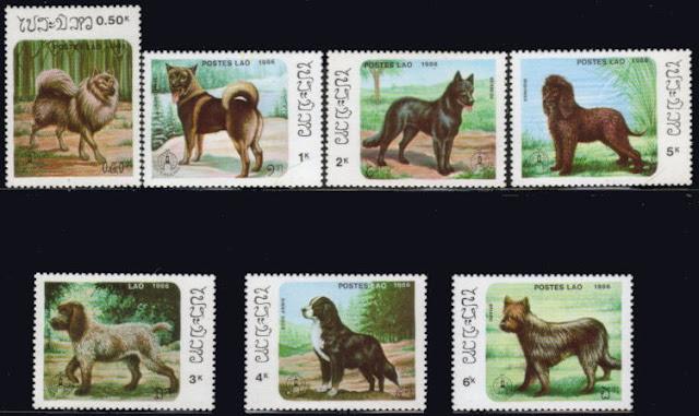 1986年ラオス人民民主共和国 キースホンド ノルウェジアン・エルクハウンド バーニーズ アイリッシュ・ウォーター・スパニエル グリフォン バーニーズ・マウンテン・ドッグ ブリアードの切手