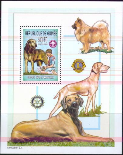 2004年ギニア共和国 アイリッシュ・ウルフハウンドの切手シート