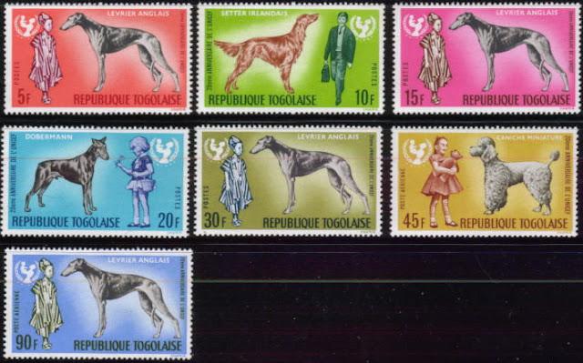 1967年トーゴ共和国 グレーハウンド アイリッシュ・セター グレーハウンド ドーベルマン グレーハウンド プードル グレーハウンドの切手