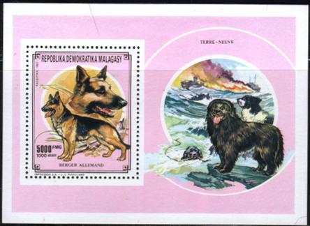 1991年マダガスカル共和国 ジャーマン・シェパードの切手シート