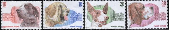 1983年スペイン Perdiquero de Burgos スパニッシュ・マスティフ イビザン・ハウンド Pachon Navarro(オールドスパニッシュポインター)の切手